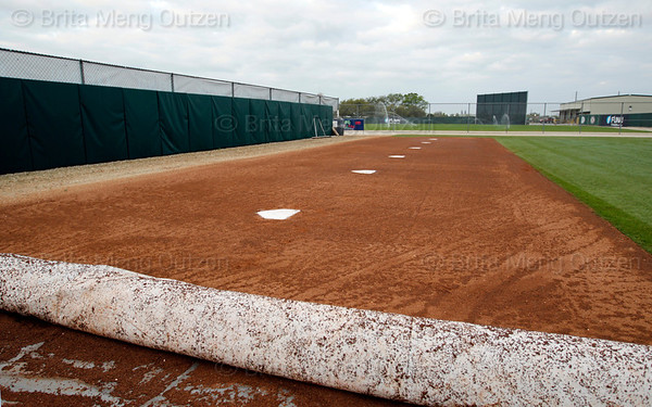 Feb. 25, 2011, Fort Myers, FL: Multiple home plates for multiple bullpen sessions by Boston Red Sox pitchers in the bullpen area at the rear of the player development complex. (Brita Meng Outzen/Boston Red Sox)