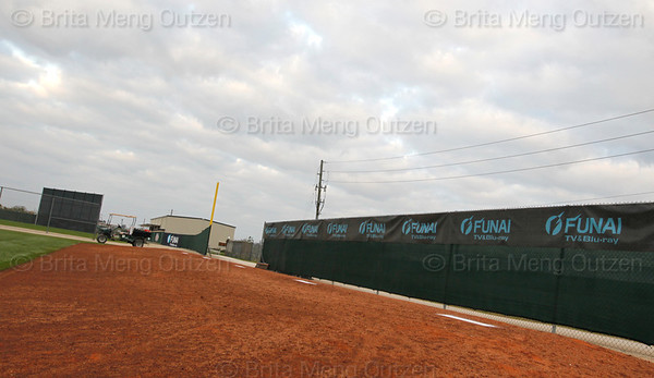 Feb. 25, 2011, Fort Myers, FL: Multiple pitching rubbers for simultaneous pitching sessions in the bullpen area at the rear of the Boston Red Sox player development complex. (Brita Meng Outzen/Boston Red Sox)
