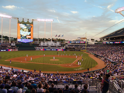 Kauffman Stadium in the twilight