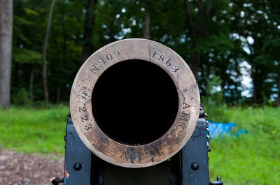 Front view of cannon located at Ball's Bluff battlefield, VA. The date of manufacture of this cannon was 1863 and the battle itself took place in 1861 so this cannon was not present at the battle.