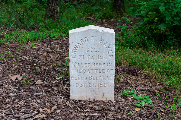 The site where Edward D. Baker was killed at the battle of Ball's Bluff, VA.  Baker was a US Senator from the State of Oregon and was the only US Senator in history to be killed in battle.