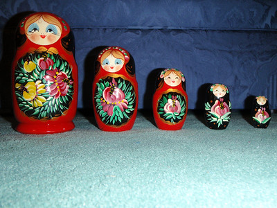 Jenny's Russian souvenirs - Nested doll family (gift to Mom)