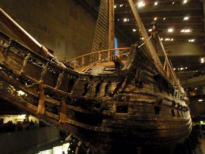 The museum displays the only almost fully intact 17th century ship that has ever been salvaged.  The 64-gun warship Vasa that sank on her maiden voyage in 1628.