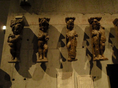Carved figures from the ship