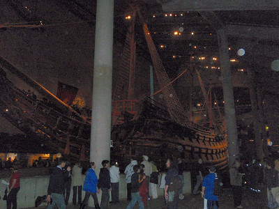 Inside the Vasa Museum, a maritime museum in Stockholm