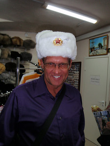 Dennis in Russian military hat