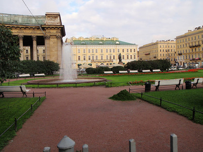 Fountain in plaza in front of Kazansky Cathedral
