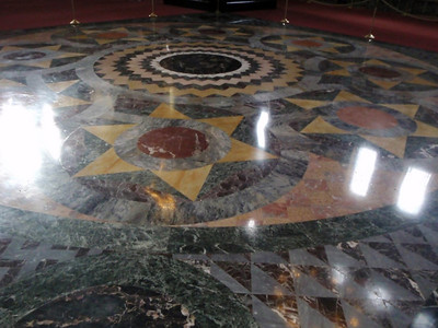Marble inlaid flooring in the church