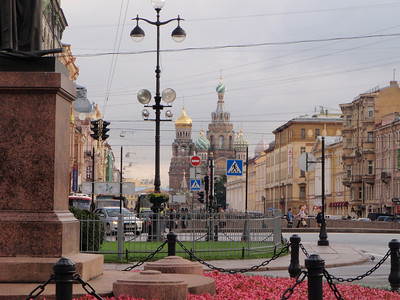 Looking down the street from Kazansky Cathedral towards another domed church.