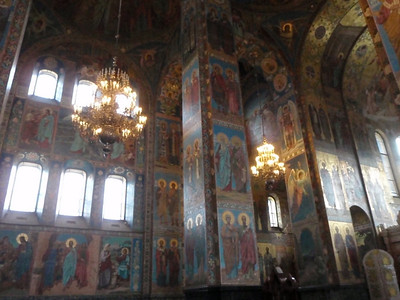 Massive pillars and walls of mosaics