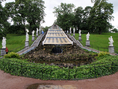 The Dragon and Chessboard cascade located in the eastern section of the Peterhof park