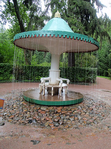 "Another ""trick"" fountain.  Once you are under the umbrella canopy, the fountain activates and traps you behind the water!!"