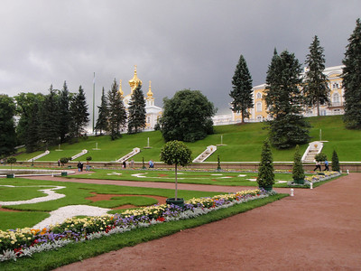 View of the gold onion-domed chapel at Peterhof from the grounds