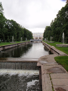 First view of Peterhof - summer palace of Peter fhe Great