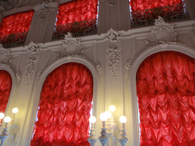 Silk curtains in foyer