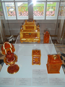 Amber artifacts on display