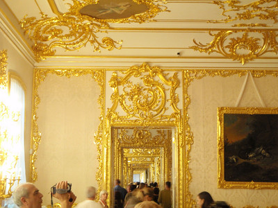 View of golden doorways through the palace