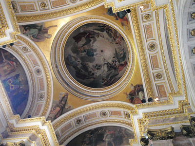 Exquisite paritings adorn the ceiling