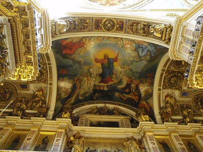 Exquisite painting on the ceiling above the iconostasis