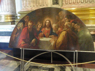 A Mosaic of the Last Supper painting seen over the iconostasis