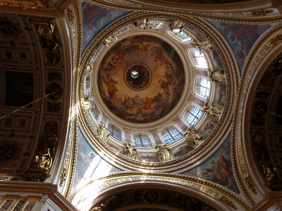 Suspended underneath the peak of the dome is a sculpted dove representing the Holy Spirit