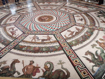 Mosaic inset into the floor at the Entrance to the Hanging Garden from the Pavilion Hall