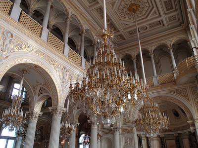 Dozens of massive chandeliers in The Pavilion Hall
