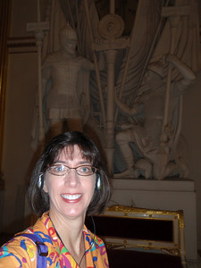 Jenny in front of sculptures in the Armorial Hall (self-portrait!)