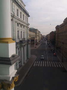 View out of a window at the Hermitage going between buildings