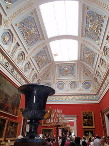The Large Italian Skylight Hall with a huge blue lapiz urn