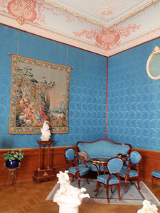Another sitting area in the blue bedroom.  Walls are covered in silk.