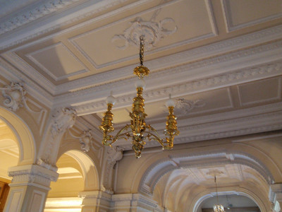 A rather plain chandelier in the entryway compared to those in other palaces toured
