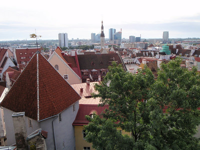 View of the red tile roofs in Old Tallinn and the modern city in the distance