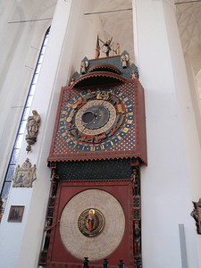 Clock built in 1460's.  This clock tells not only time, but also the day, month, lunar phase, the positions of the sun and moon in relation to the Zodiac.