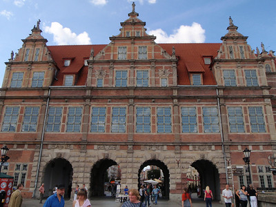 The Green Gate in Gdansk.  There are four arched passages through this gate and there is a symbol over each: The eagle of the Prussian Kings, and the emblems of Poland, Gdansk, and Royal Prussia.