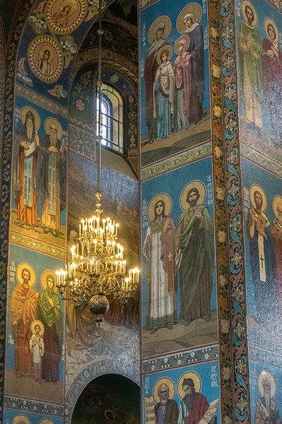 Mosaic of Saints with chandelier