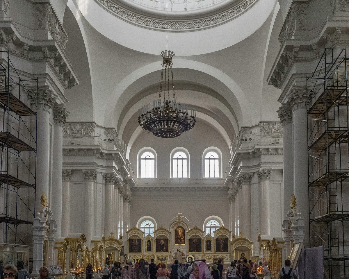 Smolny Convent Cathedral in plain neo-classical style contrasting the exterior.  Great acoustics.