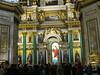 Sciany cerkwi pokrywaja malowidla i mozaiki ze zlota. Kolumny wykonano z marmurow i granitow zwiezionych z calego terytorium Rosji . Wiele elementow jest wykonanych z malachitu i lazurytu.<br /> <br /> W srodku cerkwi stoja stragany, na ktorych mozna kupic pamiatki o charakterze religijnym. Wszedzie jest pelno turystow. W cerkwi odbywaja sie msze tylko podczas swiat.<br /> <br /> Sobor imponuje ogromem i bogactwem. Wnetrze skrzy sie w swietle od zlota i migocze nasyconymi kolorami mozaik. Nawet na tych kilku zdjeciach, ktore tu umiescilam widac przepych i niesamowity kunszt z jakim wykonano cerkiew. Obie bylysmy pod ich wielkim wrazeniem.<br /> <br /> <br /> <br /> Paintings and gold mosaics adorn the walls of the cathedral. The columns were carved out of marble and granite brought over from the entire territory of Russia. Many elements are made out of malachite and lapis lazuli.<br /> <br /> In the middle of the cathedral stand stalls where you can purchase religious souvenirs . Tourists are everywhere. Masses are conducted only during the Holidays.<br /> <br /> The cathedral impresses with its magnitude and opulence. The interior glitters with gold and saturated colors of the mosaics. Even on this couple of pictures I posted here you can see the richness and incredible skill with which the cathedral was created. We were both in awe.