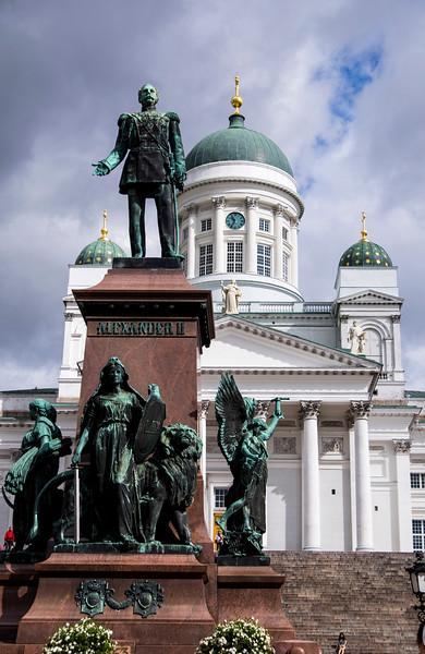 Tsar Alexander II Statue in Senate Square Helsinki