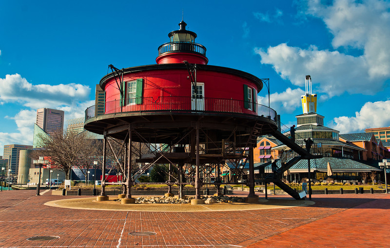 Seven Foot Knoll Lighthouse, at the Inner Harbor in Baltimore, Maryland.