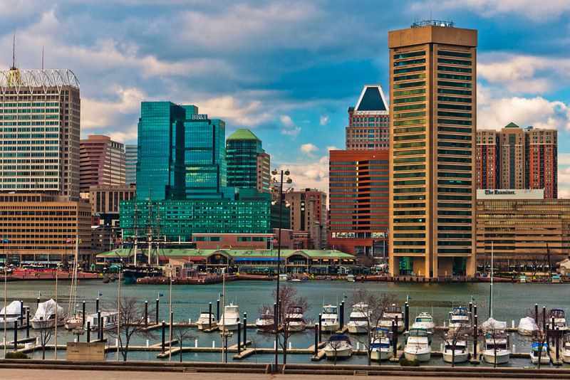 View of a marina and the Baltimore skyline from Federal Hill.