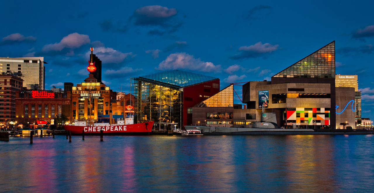 The Inner Harbor at twilight, Baltimore, Maryland.