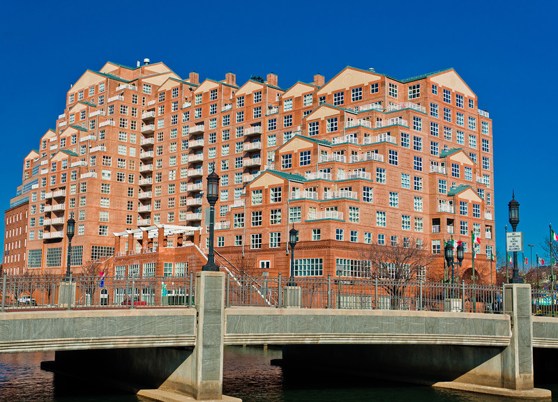Condos and Bridge at Inner Harbor, Baltimore, Maryland