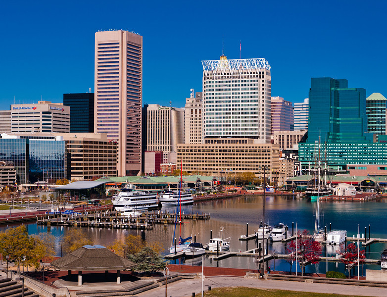 View of the Inner Harbor and skyline from Federal Hill, Baltimore, Maryland.