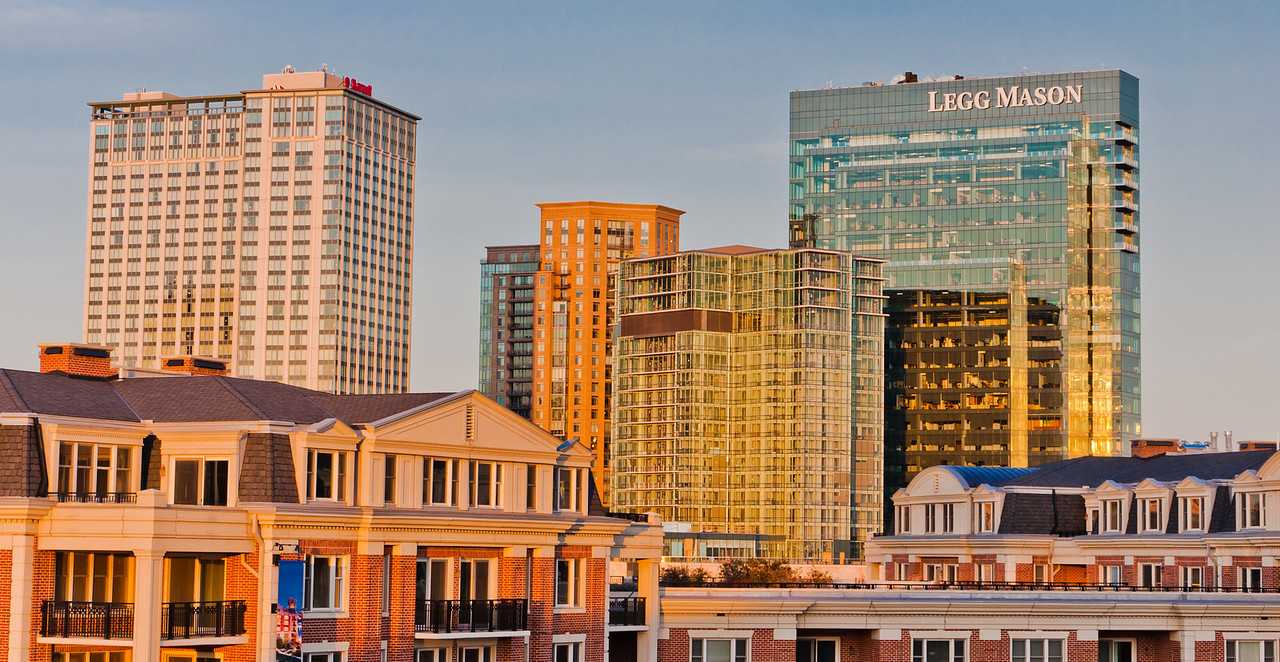 Evening light on buildings in Baltimore, Maryland