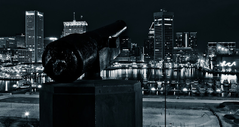 Cannon and view of the Baltimore Skyline and Inner Harbor on Federal Hill.