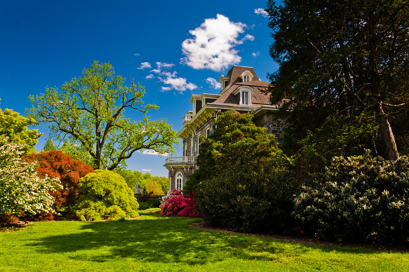Mansion and Colorful Bushes at Cylburn Arboretum, Baltimore, Maryland