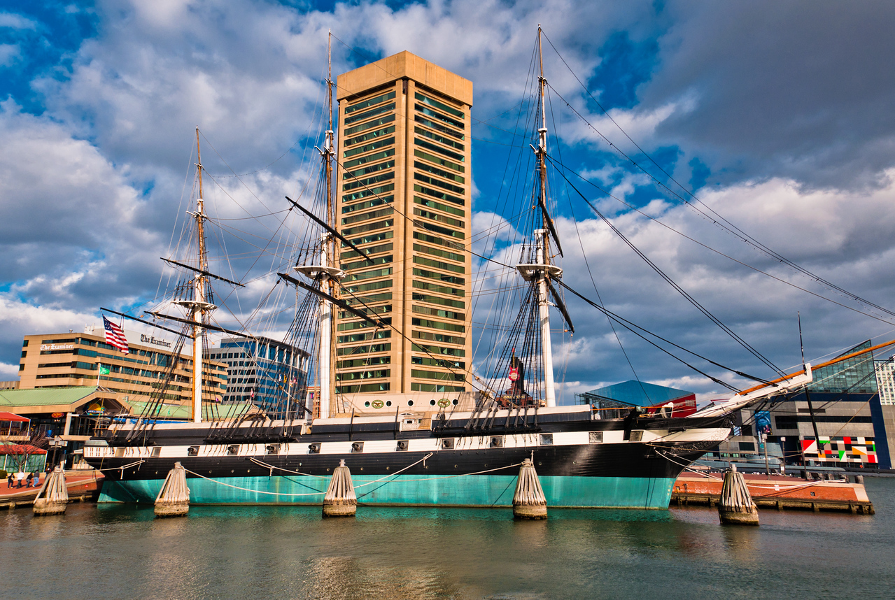 The USS Constellation and buildings in the Inner Harbor of Baltimore, Maryland.