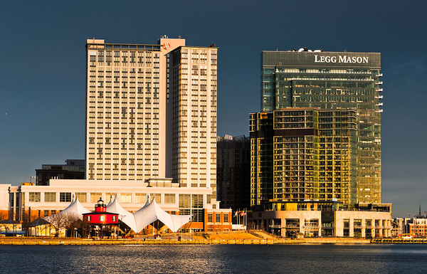 Buildings in Baltimore, Maryland, seen from the Inner Harbor