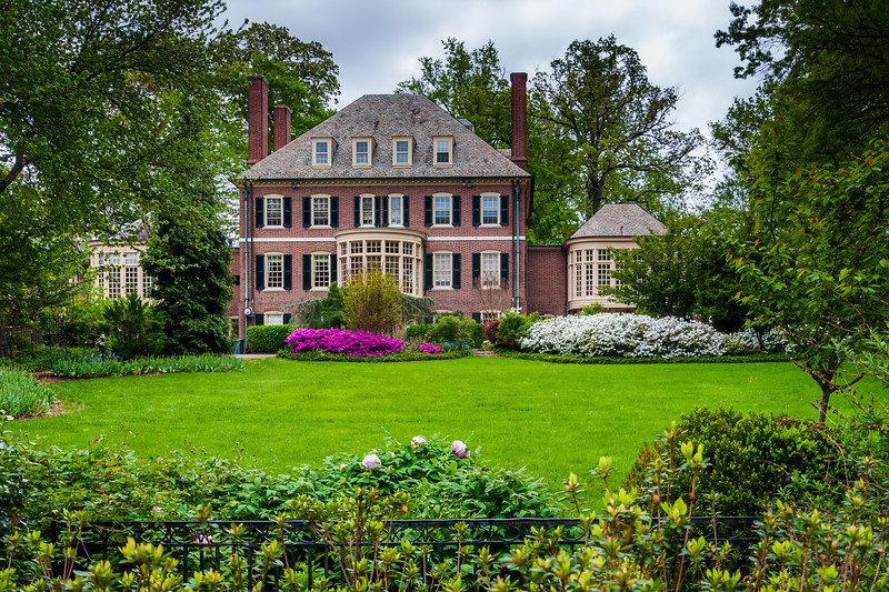 Gardens and house in Guilford, Baltimore, Maryland.